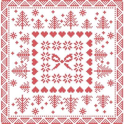 Fotomural Escandinavo estilo nórdico invierno puntada, tejer patrón transparente en la plaza, forma de azulejos incluyendo copos de nieve, arco, árbol de Navidad, copos de nieve de Navidad, corazones, Elementos