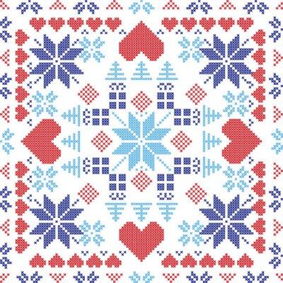 Fotomural Escandinavo estilo nórdico invierno rojo interruptor, tejer patrón transparente en la forma cuadrada incluidos los copos de nieve, regalos de Navidad, árboles de Navidad, corazones y Elementos decorat