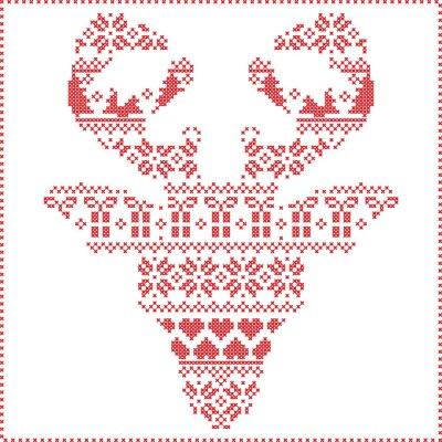 Fotomural Escandinavo invierno nórdico costura patrón de Navidad de tricotar en la forma de la cabeza de renos frontal incluyendo los copos de nieve, los corazones xmas árboles regalos de Navidad, la nieve, las