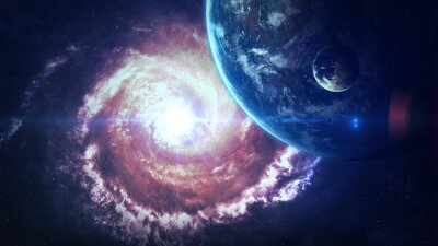 Fotomural Escena del universo con los planetas, las estrellas y las galaxias en espacio exterior que demuestra la belleza de la exploración espacial. Elementos provistos por la NASA