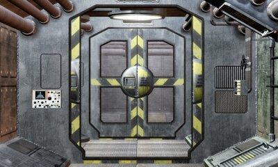 escotilla de la nave espacial y el fondo del corredor