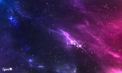 Fotomural Espacio profundo. Ilustración vectorial de la nebulosa cósmica con el cúmulo de estrellas.