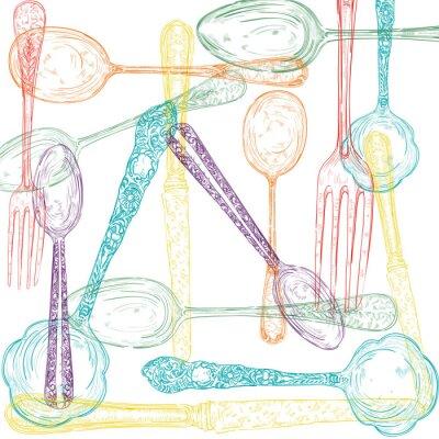 Fotomural Estilo de dibujo de la cuchillería Conjunto retro.