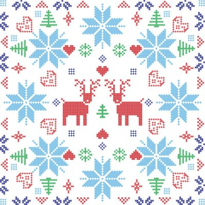Fotomural Estilo escandinavo Nordic invierno stich, tejer patrón transparente en la forma cuadrada, incluyendo copos de nieve, árboles, copos de nieve de Navidad, corazones, renos y Elementos decorativos en azu