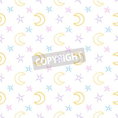 Fotomural Estrellas suaves sin fisuras y fondo de noche de bebé de luna. Dulce modelo de sueños