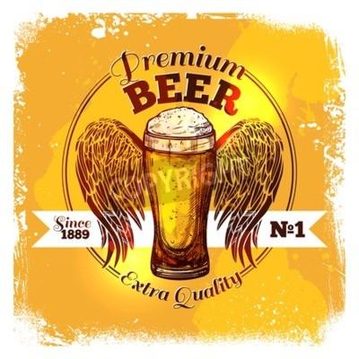Fotomural Etiqueta de cerveza de calidad superior con boceto vidrio de bebida con ilustración vectorial de adorno
