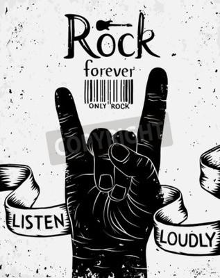 Fotomural Etiqueta del vintage con la roca para siempre. Rock and Roll signo de la mano