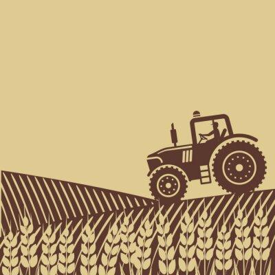 Fotomural Etiqueta oval con el paisaje. Tractor en el campo