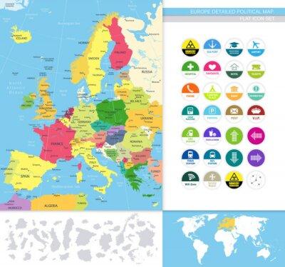Fotomural Europa detallada map.Flat político conjunto de iconos