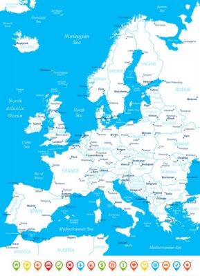 Fotomural Europa - mapa, iconos de navegación - illustration.Image contiene próximos capas: contornos terrestres, nombres de países y por países, nombres de ciudades, nombres de objetos del agua, los iconos de