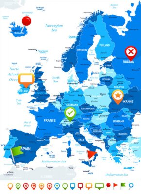 Fotomural Europe - map and navigation icons - illustration.Image contains next layers: land contours, country and land names, city names,water object names, navigation icons.