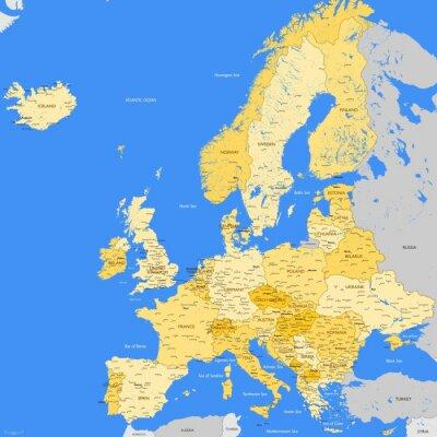 Fotomural Europe map cities