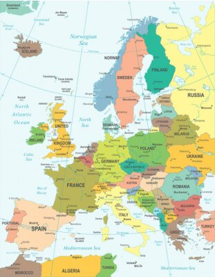 Fotomural Europe map - highly detailed vector illustration.