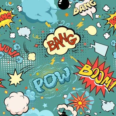Fotomural Explosión de cómic sin fisuras, bombas y explosión. Burbujas para el habla, diferentes sonidos y flechas.