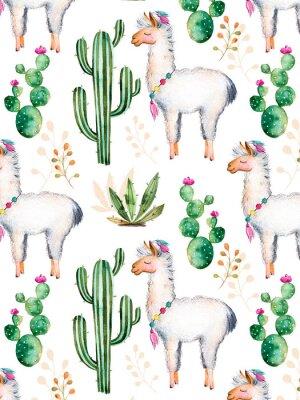 Fotomural Exture con elementos de acuarela pintados a mano de alta calidad para su diseño con plantas de cactus, flores y lama.Para su creación única, fondo de pantalla, fondo, blogs, patrón, invitaciones y más