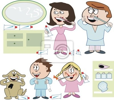 Familia De Dibujos Animados De La Salud Dental Fotomural