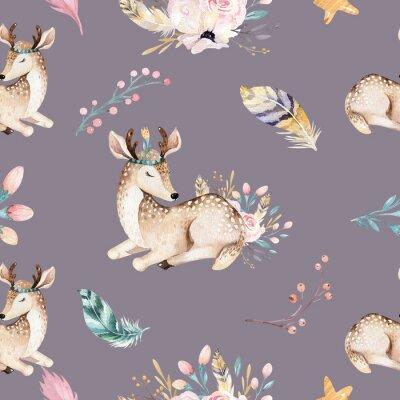 Fotomural Familia linda bebé raccon, ciervos y conejito. jirafa del cuarto de niños animal, y oso ilustración aislada. Watercolor boho raccon drawing nursery seamless pattern. Fondo de niños, impresión de viver