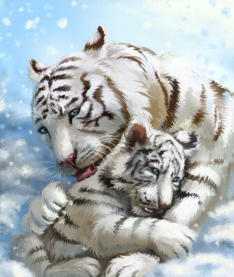 Fotomural Familia tigre