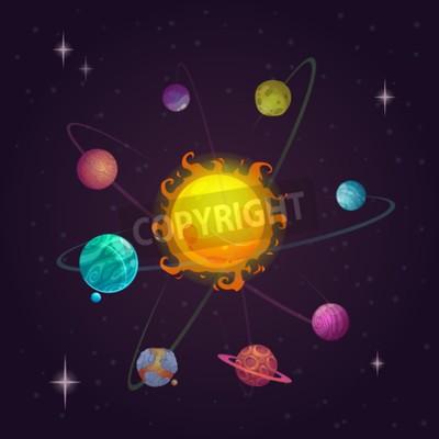 Fotomural Fantasía del sistema solar, planetas alienígenas y estrellas, ilustración vectorial espacio