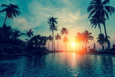 Fotomural Fantástico atardecer, palmeras en la playa tropical.