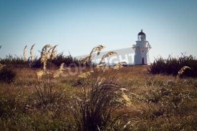 Fotomural Faro histórico en Waipapa Point, Catlins, Nueva Zelanda. Filtrar la vendimia
