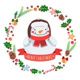 Présentation de Valou - Page 2 Feliz-navidad-muneco-de-nieve-de-dibujos-animados-en-un-sombrero-con-corona-de-navidad-vector-de-tarjeta-y-fondo-160-61278208