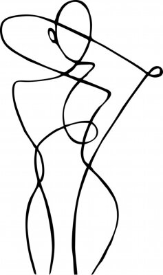 Fotomural Female figure, drawn in one line