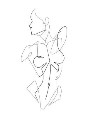 Fotomural Female Figure One Continuous Line Vector Graphic Illustration