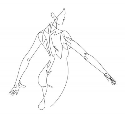 Fotomural Figura femenina línea continua gráfico vectorial VI