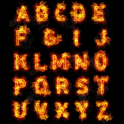 Fotomural Fire font text all letters of alphabet on black background