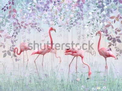 Fotomural Flamencos rosados en un jardín delicado en una niebla turquesa. Mural y fondos de pantalla para impresión de interiores.
