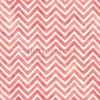 Fotomural Flamingo pink acuarela patrón de chevron