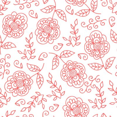 Fotomural Flor del vector y modelo inconsútil de las hojas. Flores lindas del Doodle.