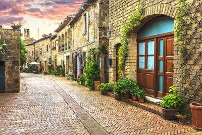 Fotomural Flor llena de calles de la antigua ciudad italiana de Toscana.