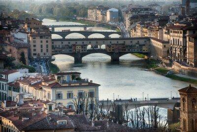 Fotomural Florencia Ponte Vecchio vista del atardecer