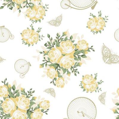 Fotomural Flores amarillas, mariposas y bicicletas patrón transparente