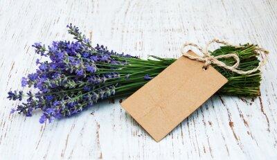 Fotomural Flores de lavanda con la etiqueta