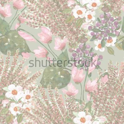 Fotomural Flores de patrones sin fisuras