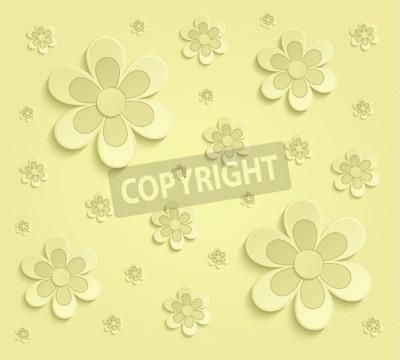 Fotomural Flores de primavera papel 3D papel amarillo raster