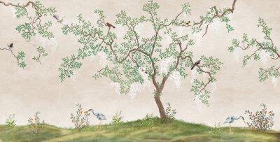 Fotomural Flowering tree in the Japanese garden with birds. Fresco, Wallpaper for interior printing.