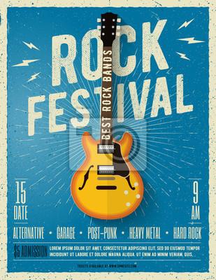 Fotomural Folleto del festival de música rock. Ilustración del vector.