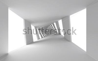 Fotomural Fondo abstracto 3d con corredor espiral trenzado blanco