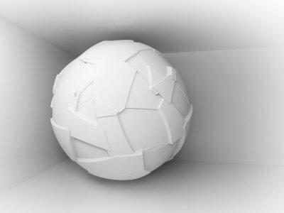 Fotomural Fondo abstracto 3d con el blanco gran esfera voladora