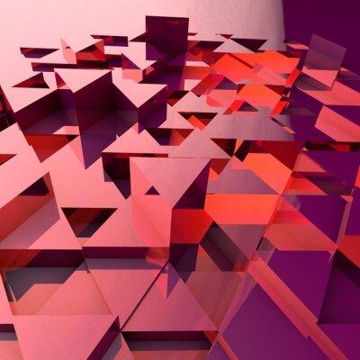 Fotomural Fondo abstracto 3d con triángulos poligonales rojos.