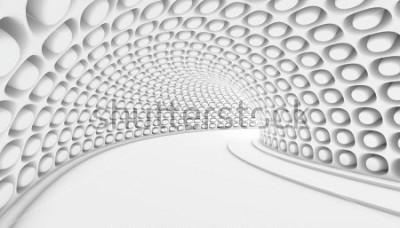 Fotomural Fondo abstracto blanco del túnel 3d. 3d hacer ilustración