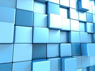 Fotomural Fondo abstracto de cubos de azul de fondo