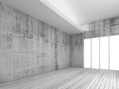 Fotomural Fondo blanco interior con piso de madera, 3d