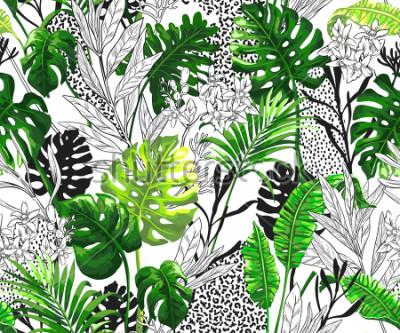 Fotomural Fondo botánico con hojas de palmeras tropicales. Modelo inconsútil del vector en estilo hawaiano de moda.
