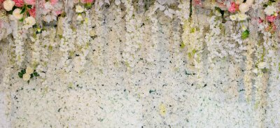 Fotomural Fondo de flores. decoración de la boda de fondo. Patrón de rosa. Flor de pared, fondo colorido, rosa fresca