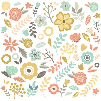 Fotomural Fondo de las flores dibujadas mano de la vendimia